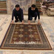 Yilong 4.5and039x6.5and039 Turkish Handmade Home Carpet Antique Hand Knotted Silk Rug Z144