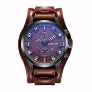 Watch Military Sport Man Curren Quartz Date New Large Leather Strap Sleeve Promo