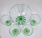 Set Of 5 Green+clear Glass Italy Crystal Dessert,ice Cream Pedestal Bowl Stand