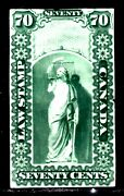 Ontario Law Stamp Ol8p 70c Green, 1864 Imperf Proof