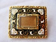 18k Yellow Gold French Enamel Memorial Pin Circa 1850and039s