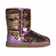 Ugg Classic Short Sequin Pink Fashion Sparkle Women's Boots Size Us 7/uk 5 New