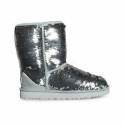 Ugg Classic Short Sequin Silver Fashion Sparkle Women's Boots Size Us 7 New