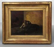 Michael Max 1823-1891 Antique German Oil Painting Playing Dogs Signed 1872