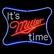 Neon Signs Gift It Is Miller Time Beer Bar Pub Store Room Wall Display 19x15