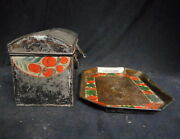 Antique Pa Toleware Circa 1850 Painted Document Box And Tray