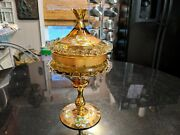 Incredible Antique Hand Painted Hand Blown With 24 Kt Gold Candy Dish