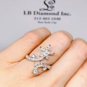 Flower Cocktail Ring Marquis And Round Brilliant Diamonds 1.36ct 18k White Gold