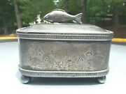 Vintage Silver Plate Jewelry Box ,fish Finial Lid By Simpson Hall Miller And Co.