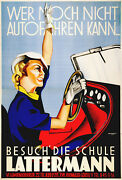 Lattermann Original Vintage Car Poster By Rudolf Raudnitzky Austrian Driving