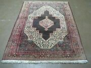 4' X 5' Antique Hand Made India Floral Oriental Wool Rug Brown Vegetable Dyes