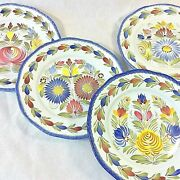 Henriot Quimper Set 4 Plate Wall Dinner Charger 11floral Variety H Paint France