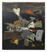 1940s Abstract Oil Painting Mcm Mod Decor Abstraction Art After Kandinsky