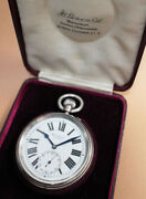 J. W. Benson Pocket Watch 925 Silver Snap Back Case 55.4mm Manual Wind 1920and039s