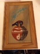 Pottery With Bear Indian Sand Art From Sedona, Az Framed Picture