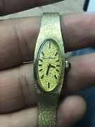 Vintage Antique Lucien Piccard Ladies Solid 14k Yellow Gold Watch Collectible