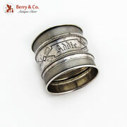 Antique Wide Beaded Napkin Ring Milled Borders Coin Silver 1890