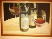 M.aaron Large Silver Oak Wine Painting On Canvas Realistic Life-like