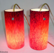 2 Red Art Glass Cylindrical Shades Venetian Style Pendant Lamps