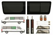 Front Side Sliding And Fixed Window Set Dark Tint Sprinter Crafter 2006-17 Mwb/lwb