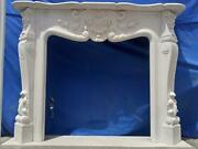Beautiful Hand Carved Marble French Style Estate Fireplace Mantel - Ttm15