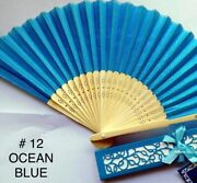 Silk Fans With Gift Box Hand Fan Bamboo Wedding Favors Bridal Shower Quince