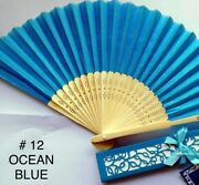 Silk Fans With Gift Box, Hand Fan, Bamboo, Wedding Favors, Bridal Shower, Quince
