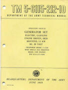 Tm5-6115-212-10 Generator Skid Mounted G-1528 Technical Book Us Army Post War