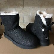 Ugg Mini Bailey Bow Sparkle Glitter Black Boots Size Us 7 Womens