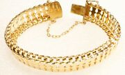 14k Yellow Gold Bracelet 44.6 Grams 14.5mm Wide 7 Long Double Safety Wholesale