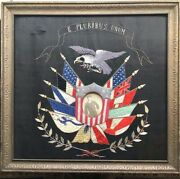 Antique Patriotic American Navy Military Embroidered Eagle Andflags W Sailor Photo