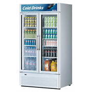 Turbo Air Tgm-35sd-n 39 Two Section Merchandiser Refrigerator With Glass Doo...