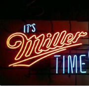 Itand039s Miller Time Lite Neon Light Sign 24x20 Lamp Real Glass Beer Bar