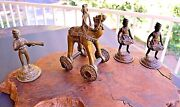 Temple Toy Lot Camel Horse And Rider Vintage Rolling Wheels And 3 Soldiers Gift