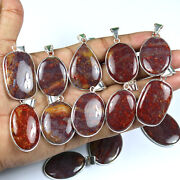 Exclusive 100 Pcs Natural Palm Root Agate Gemstone Silver Plated Bezel Pendant