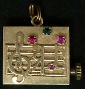 Rare Antique 14kt American Charm Corp Music Box Charm/pendent W/rubies And Emerald