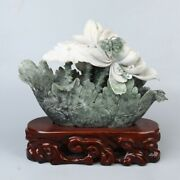 Chinese Exquisite Hand-carved Flowers And Butterfly Carving Dushan Jade Statue