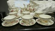Zsolnay Hand Painted Porcelain Floral Coffee / Tea Set Laced With 24k Gold