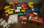 Vtg Lot Of Fisher Price Little People Wooden Plastic Figures Animals Fire Truck
