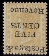 Ceylon 118a 5andcent On 8andcent Orange Inverted Ovpt Og Hinged Rare Stamp Signed