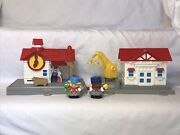 Fisher Price Little People Town Village Train Station Railroad Conductors Lot