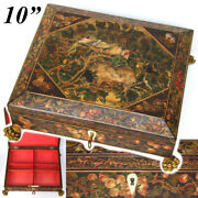 Antique French Napoleon Era C.1820 10 Playing Card, Sewing Or Work Box, Painted