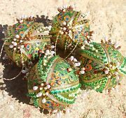 Handmade Unique Beaded 4 Pc Set Peacock Feathers Gold Christmas Ornaments Balls