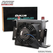 30 Row 10an Fit For Universal Engine Transmission Oil Cooler+7 Fixed Fan Kit
