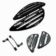Black Cnc Cut Front Rear Floorboard Toe Heel Shift Lever Fit For Touring Flh