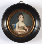 Portrait Of A Lady With A Gauze Kerchief In Hand,fine French Miniature,ca 1800