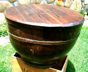 Antique - Chinese - Wood - Wooden Rice Barrel Container - Two Piece Lid - L@@k