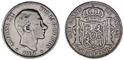 50 Cents / 50 Cents Peso. Ag. Alfonso Xii Philippines 1880. Vf / Mbc Rare - Rare