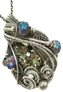 Pyrite Crystal Cluster Wire-wrapped Necklace In Sterling Silver With Titanium-qz