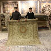 Clearance Yilong 6and039x9and039 Beige Wool Silk Carpet Flooring Handmade Area Rug 1454